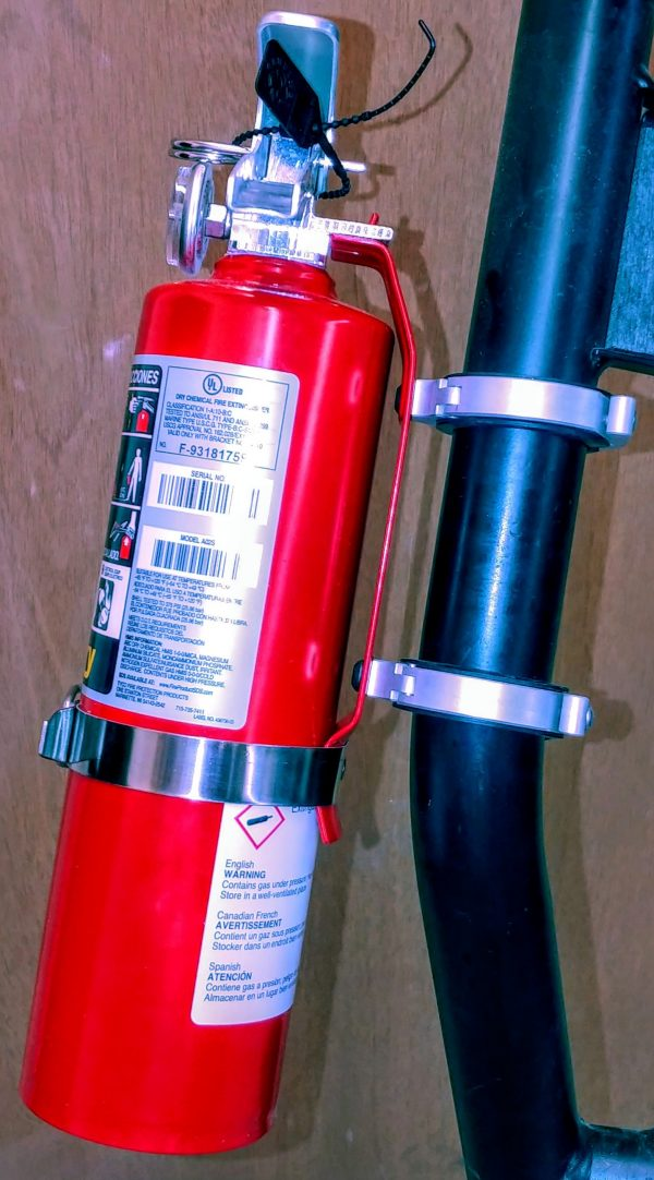 Extinguisher and mounting clamps