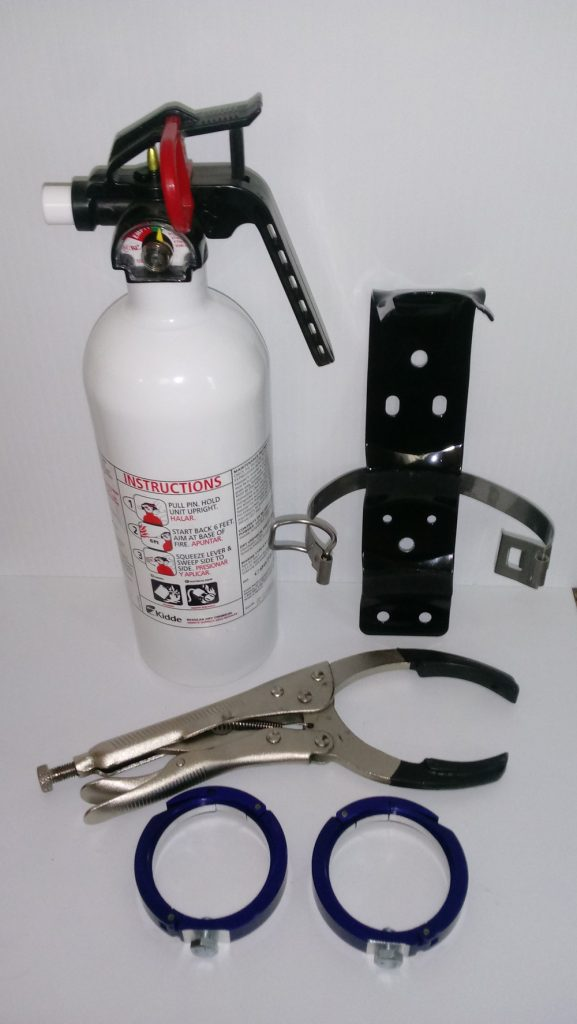 One Time Use Fire Extinguisher with Tools and Mounting Hardware
