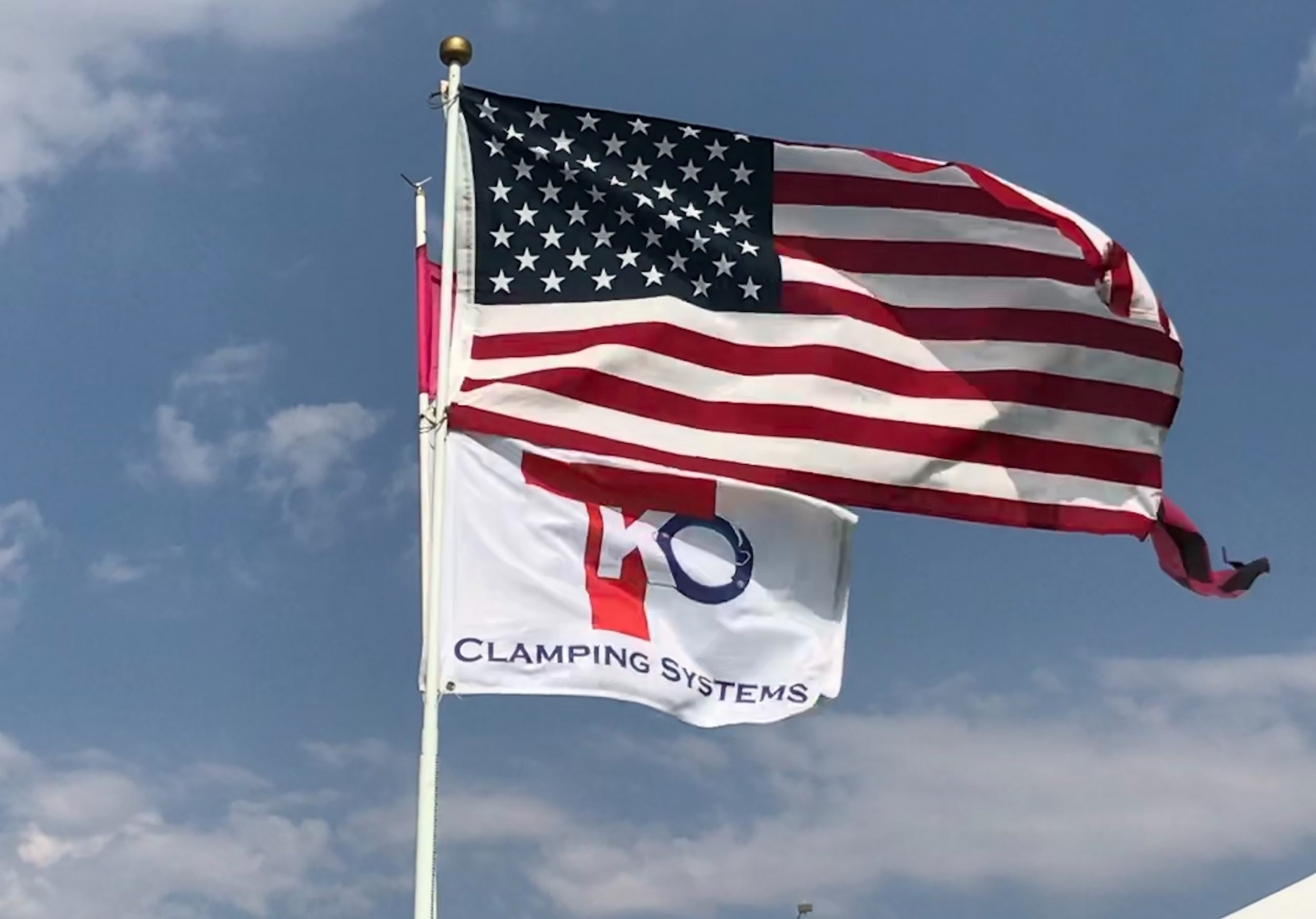 TKO CLAMPING SYSTEMS flag with American flag