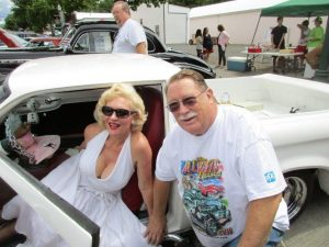 Del Avery with his Ranchero and Marilyn Monroe. All Wheels Weekend Dayton Washington